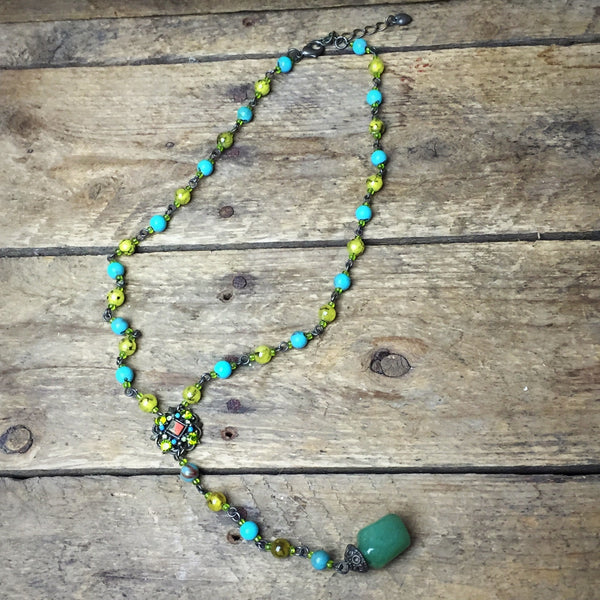 "Blue and Green 18"" Dangle Rock Necklace"