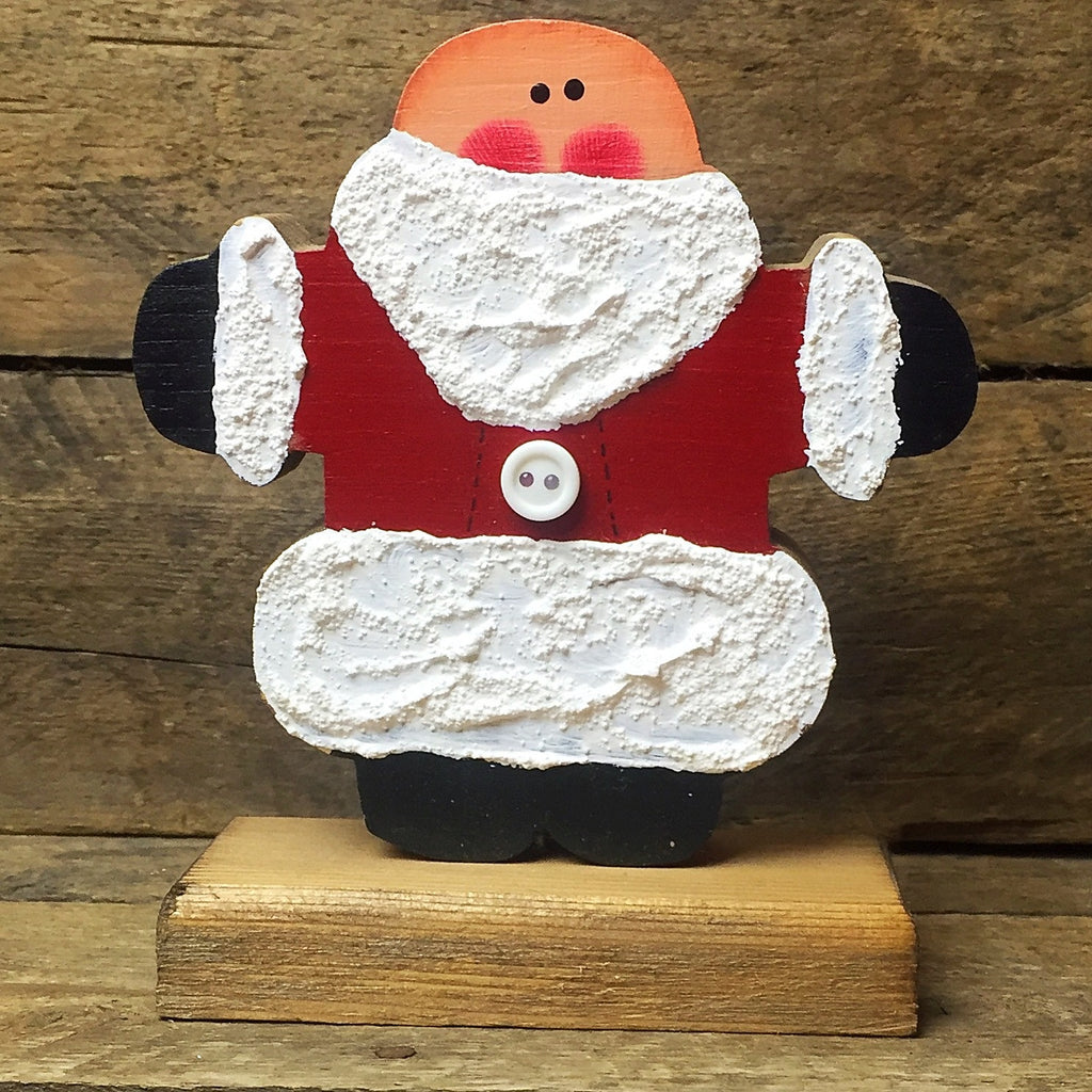 "Wooden Cutout Hatless Santa on stand 5.25"" H"