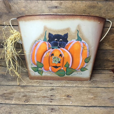 Black Cat with Pumpkins Wall Tin Ohio Wholesale