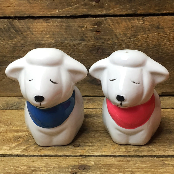 Sleeping Sheep Salt and Pepper Shakers pink and blue bandanas