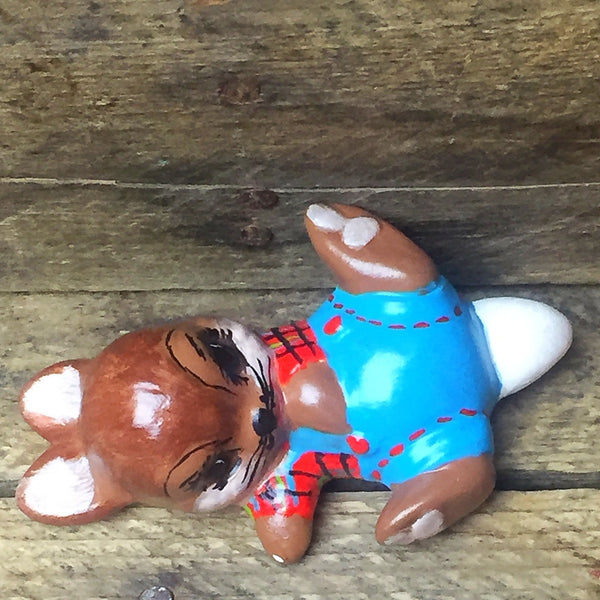 Vintage Hand Painted Brown Bunny in Overalls Rabbit