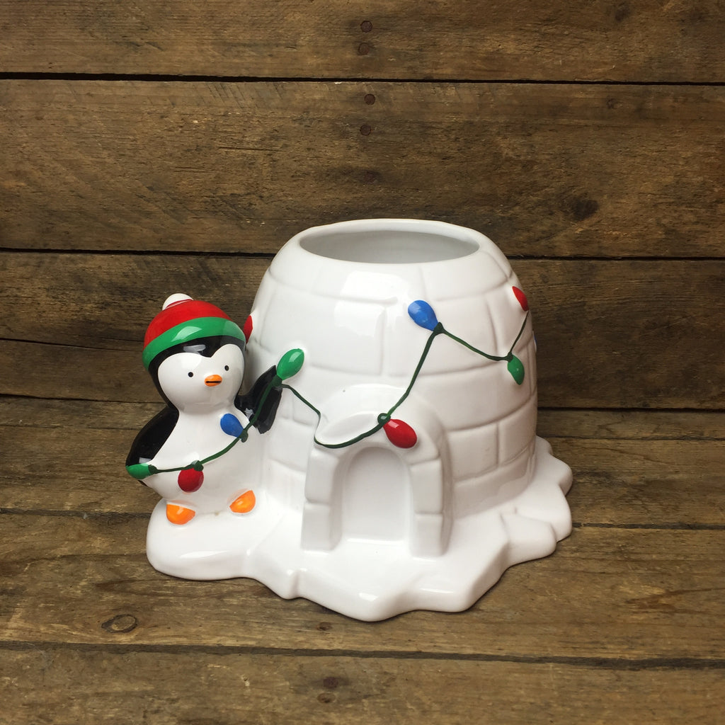Teleflora Send a Hug Deck the Igloo Penguin Container