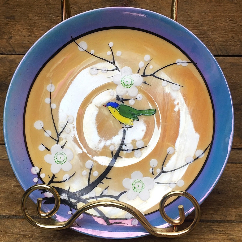 Japanese Bird on White Flower Branches Saucer iridescent finish