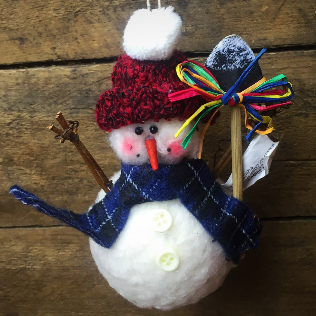 Jolly Snowman Fabric Ornament with Snow Shovel