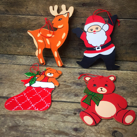 Vintage Set of 4 Santa Reindeer Bear & Stocking Painted Wood Ornaments