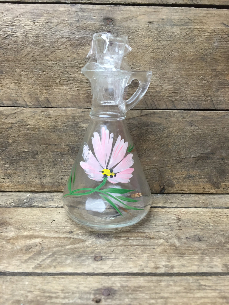 Handpainted Pink Flower Glass Dispenser with Lid