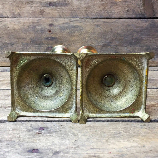 "Set of 2 Brass Candle Holders made in Japan 7.75"" H"