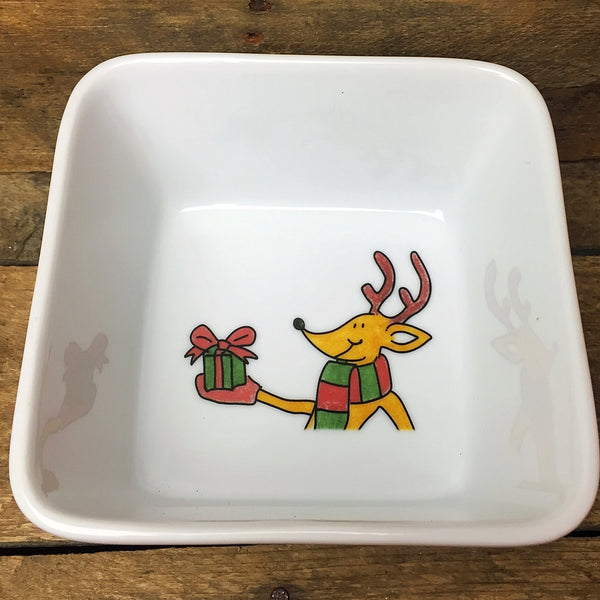 Ashley Cooper Reindeer with Present Square Bowl, Holiday Magic Collection