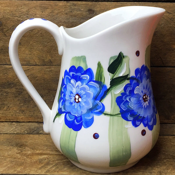 Pier 1 Pitcher with Blue Flowers and Green Stripes Cottage Style