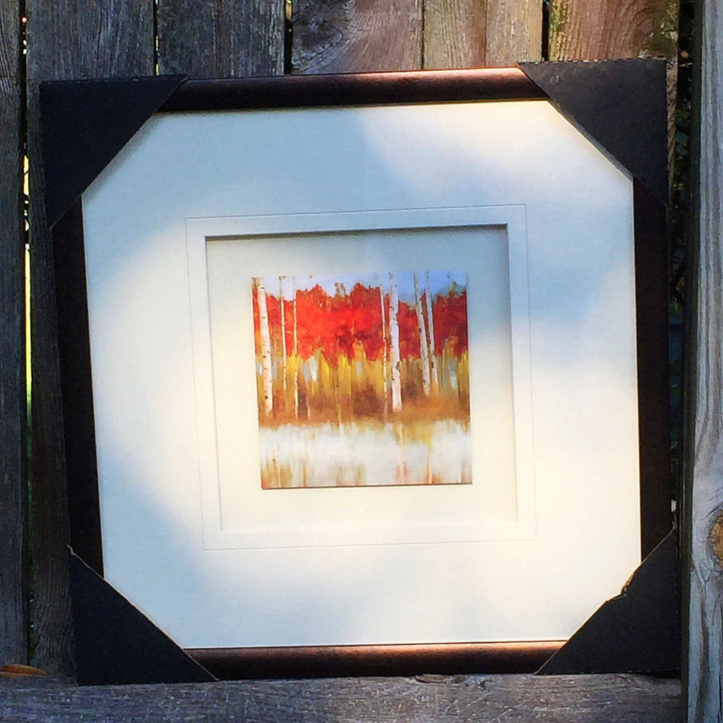 "Fall Leaves with Birches Matted and Framed Print 15"" x 15"""