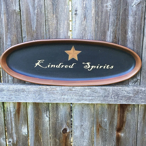 Kindred Spirits Oval Decorative Tray primitive
