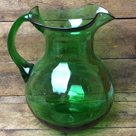Green Glass Ruffled Pitcher