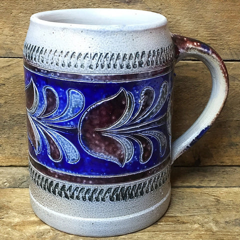 Handarbeit Pottery Stein Mug blue and brown design Germany