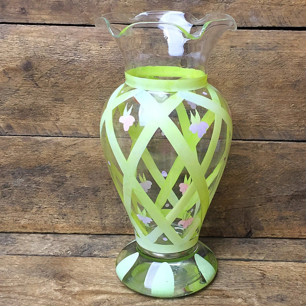 "Handpainted Flower Vase Lattice and Pink Flower Design 7"" H"