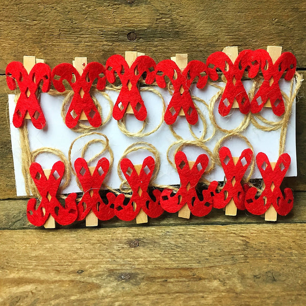 Candy Cane Christmas Cards Holder, 12 mini clips