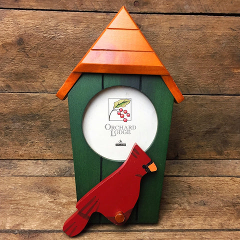 Orchard Lodge Cardinal and Green Birdhouse Photo Frame
