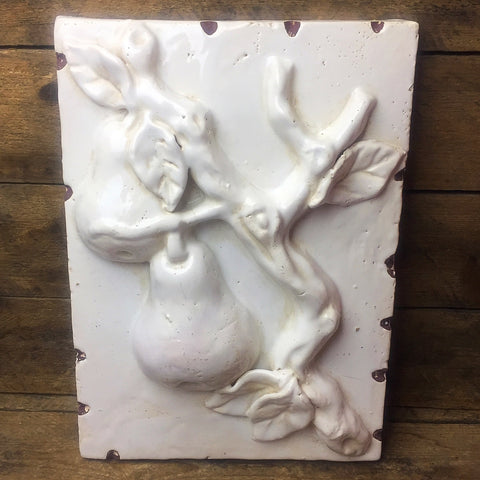 Creative Co-op Distressed White Wall Plaque - Pears
