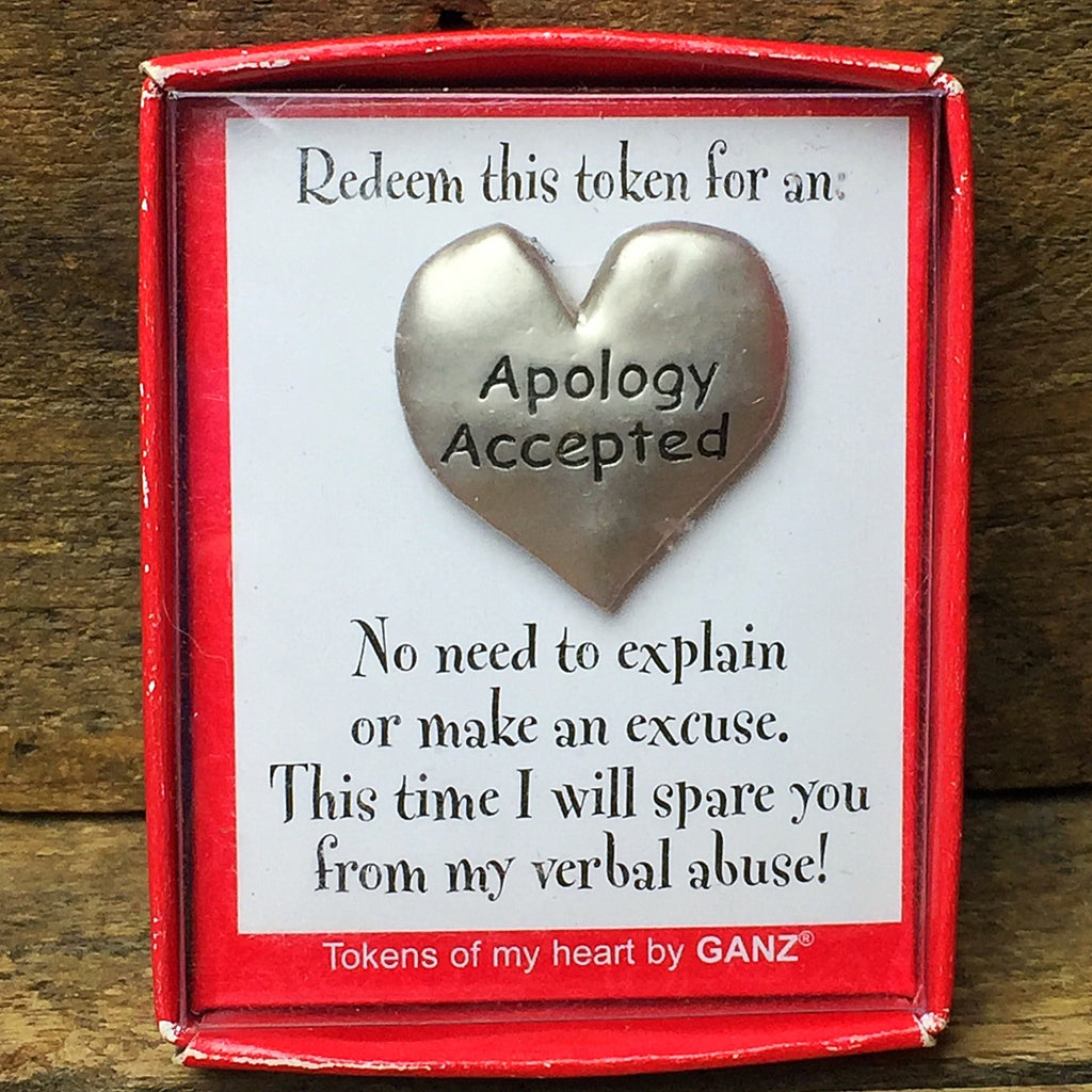 Ganz Apology Accepted Heart Shaped Token - gift boxed