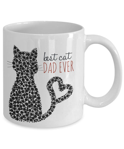 Cat Coffee Mug - Best Cat Dad Ever - 11 oz Gift Mug