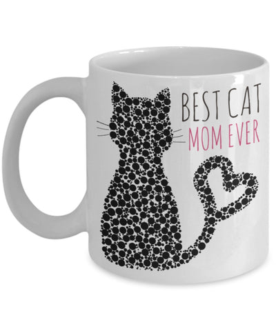 Cat Coffee Mug - Best Cat Mom Ever - 11 oz Gift Mug