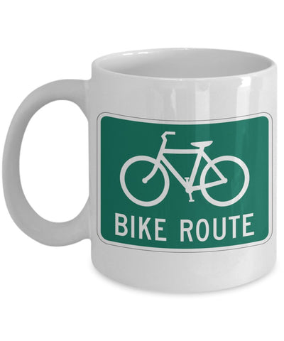 Cycling Coffee Mug - Bike Route Sign - 11 oz Gift Mug