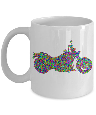 Motorcycle Coffee Mug - Prismatic Motorcycle - 11 oz Gift Mug
