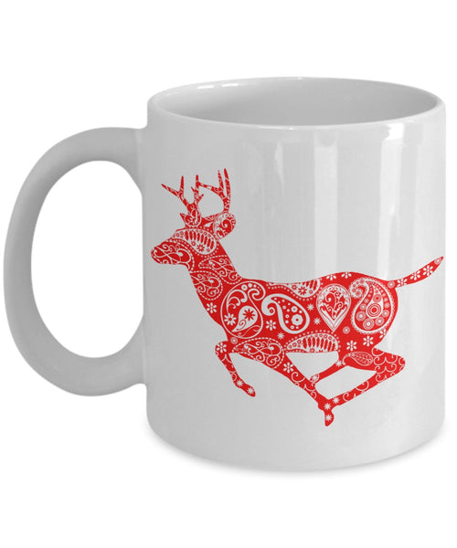 Christmas Coffee Mug - Red Reindeer Mandala - 11 oz Gift Mug