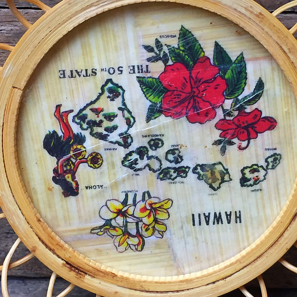 Set of 4 Vintage Hawaii Drink Coasters bamboo