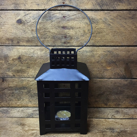 "Black Tealight Lantern 7"" H"