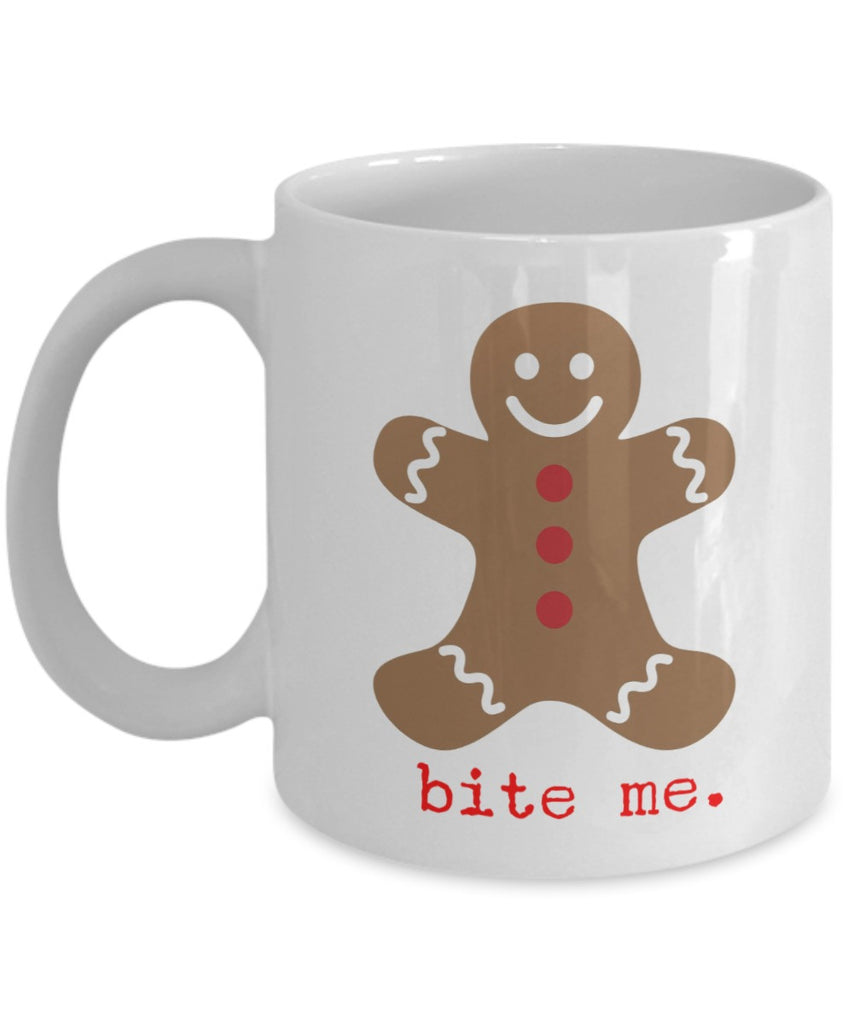 Christmas Coffee Mug - Gingerbread Bite Me - 11 oz Gift Mug