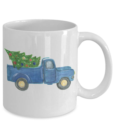 Christmas Coffee Mug - Blue Classic Chevy Truck with Tree - 11 oz Gift Mug