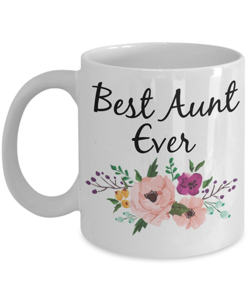 Aunt Coffee Mug - Best Aunt Ever Watercolor Flowers - 11 oz Gift Mug