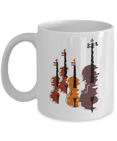 Musical Coffee Mug - Artistic Cello Design - 11 oz Gift Mug