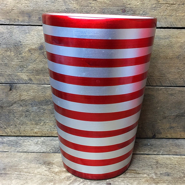 ProFlowers Red and Silver Striped Ceramic Vase - wide opening