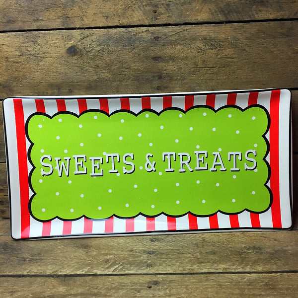 Pier 1 Sweets & Treats Platter - red & white stripes and green polka dots