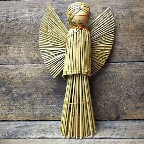 "Vintage Straw Angel 6.75"" H"