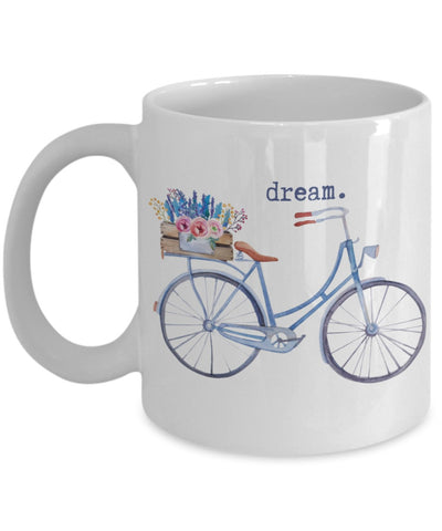 Floral Words Mug - Dream Bicycle - 11 oz Gift Mug