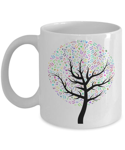 Music Lovers Mug - Colorful Music Notes Tree - 11 oz Gift Mug