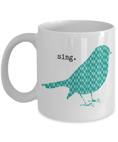 Inspire Mug - Sing Patterned Bird - 11 oz Gift Mug
