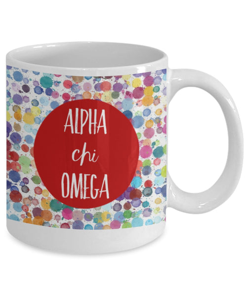 Greek Sorority Mug - Alpha Chi Omega Dots - 11 oz Gift Mug