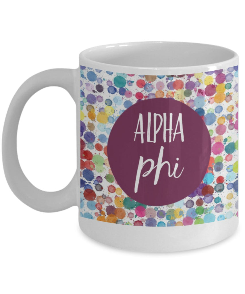 Greek Sorority Mug - Alpha Phi Dots - 11 oz Gift Mug