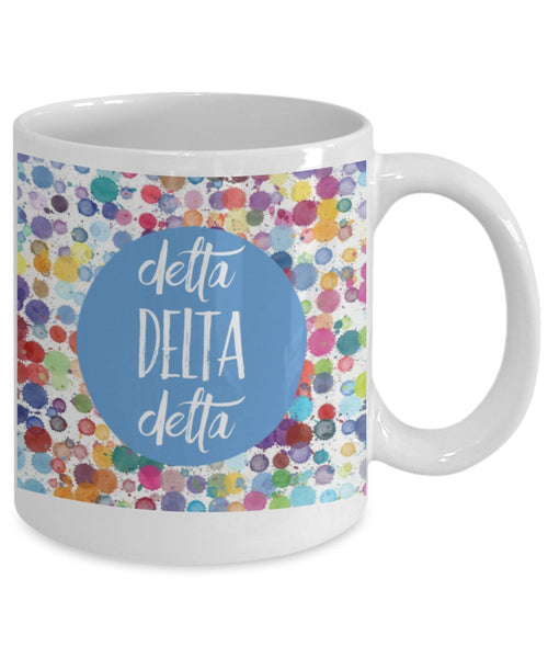 Greek Sorority Mug - Delta Delta Delta Dots - 11 oz Gift Mug