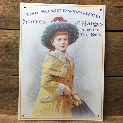 "Nostalgic Somersworth Stoves Ad Decorative Tin Sign - 6"" x 9"" Ohio Wholesale"