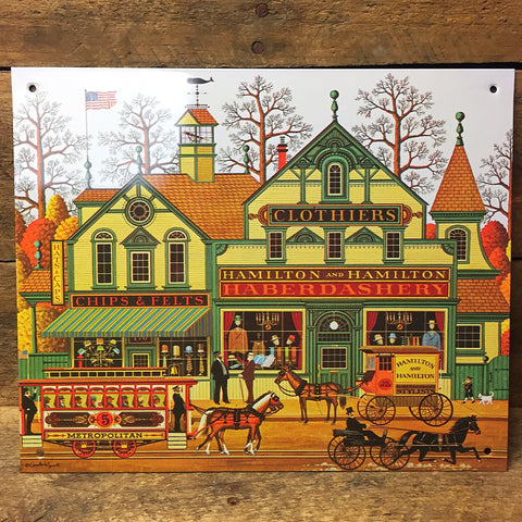 Charles Wysocki Hamilton and Hamilton Haberdashers Decorative Tin Sign