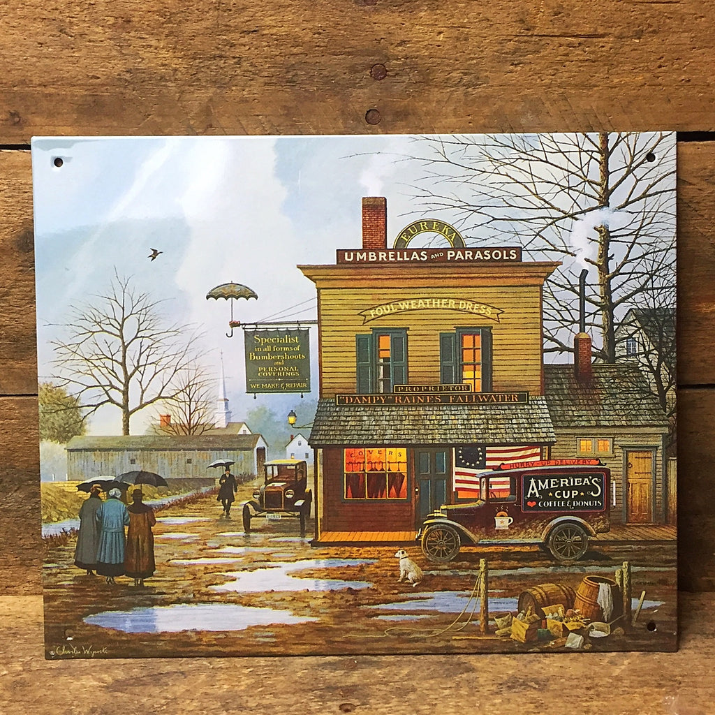Charles Wysocki Dampy Raines Fallwater Decorative Tin Sign