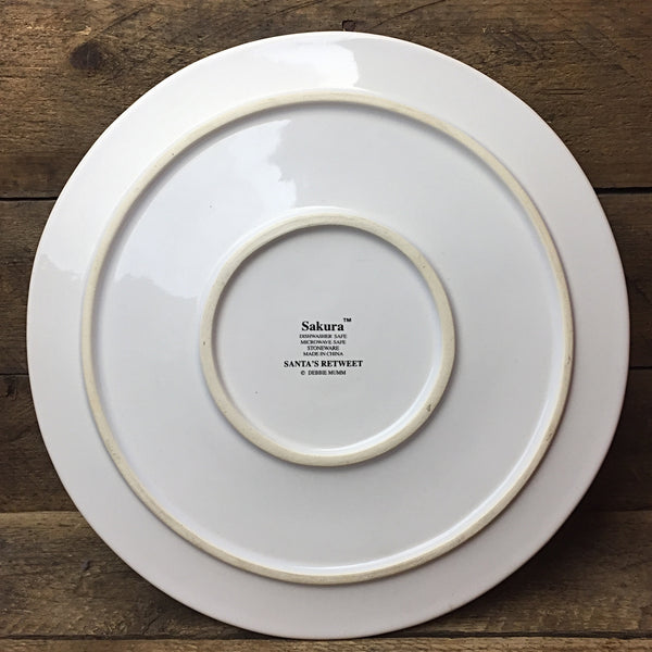 "Sakura Santa's Retweet Debbie Mumm Hot Plate - 9.75"" diameter"