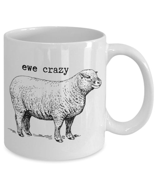 Punny Animal Mug - Ewe Crazy - 11 oz Gift Mug