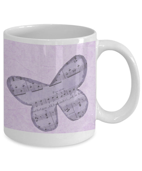 Musical Mug - Purple Butterfly with Musical Notes - 11 oz Gift Mug