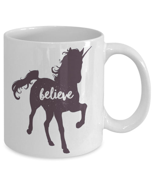 Magical Mug - Unicorn Silhouette with Believe Script - 11 oz Gift Mug