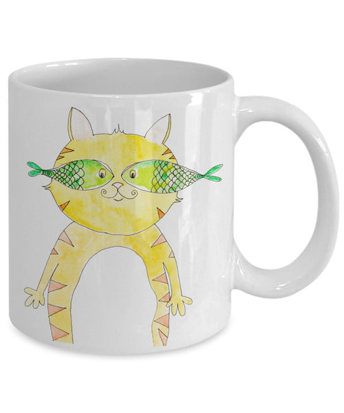 Cat Mug - Incognito Yellow Cat Mug - 11 oz Gift Mug